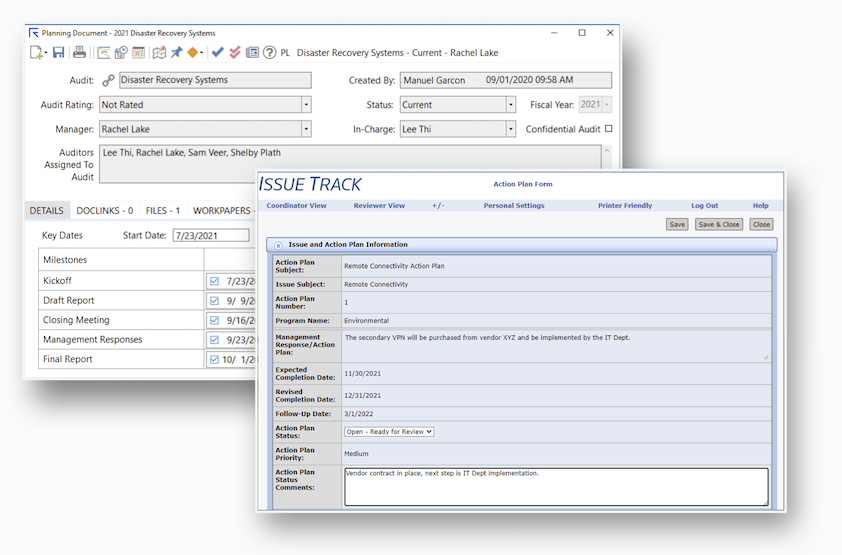 AutoAudit software enables unique roles and permissions for internal audit staff and stakeholders